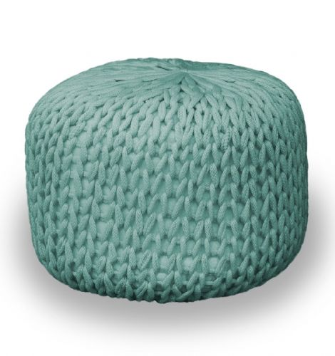 DUCK EGG FOOT STOOL MOROCCAN CUBE OTTOMAN HANDMADE CHUNKY 100% COTTON KNITTED POUFFE